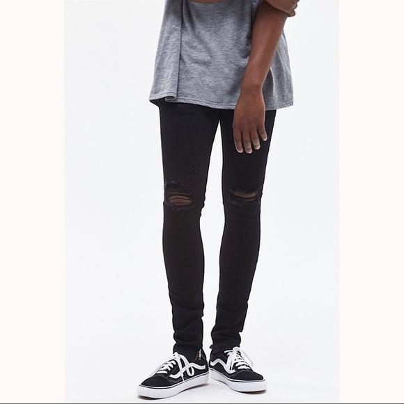b03febde2105 PacSun Jeans | Ripped Zip Black Stacked Skinny | Poshmark